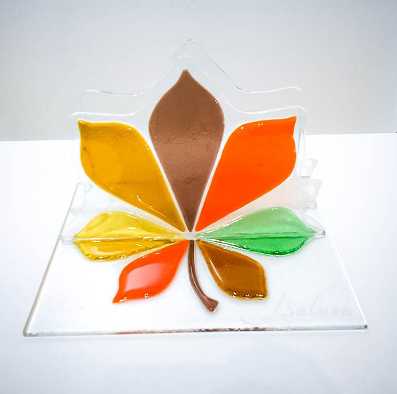 Porte-lettres en vitrail feuille de chêne